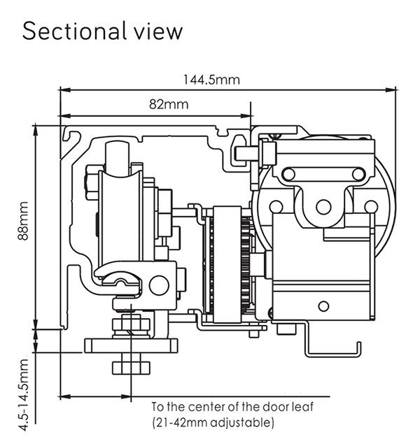 Sectional view of Automatic Sliding Door Mechanism D5
