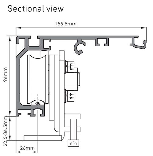 Sectional view of Heavy Duty Sliding Door Opener DSH 350